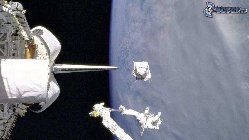 transbordador espacial, astronautas, Tierra