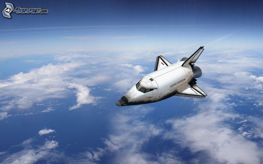 transbordador espacial, nubes