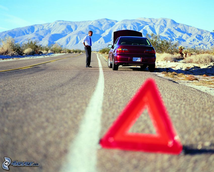 accidente, camino, triángulo, montañas, coche