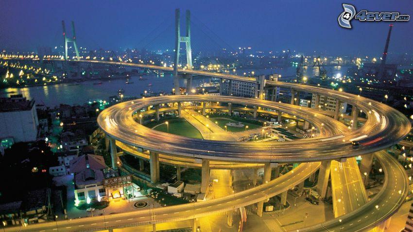 Autopista puente, carretera en noche, cruce, Singapur