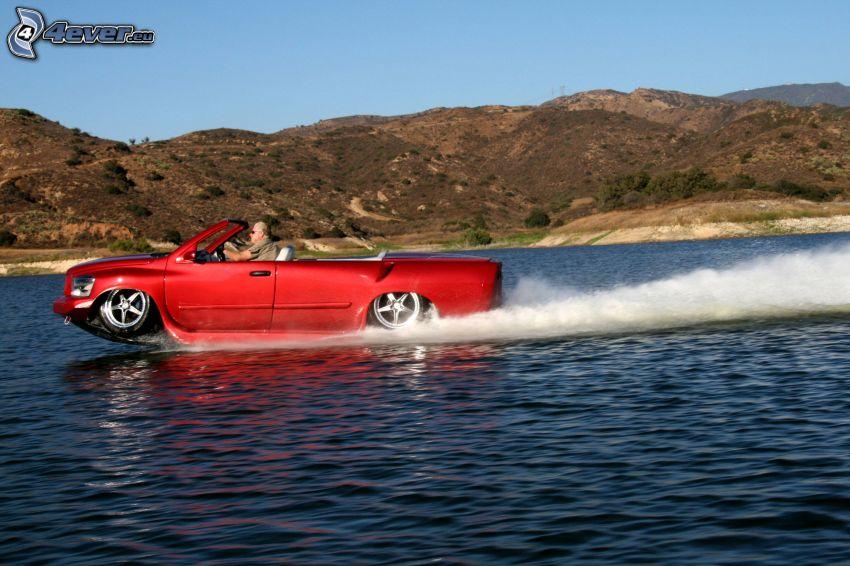 barco, coche, río, agua, colina
