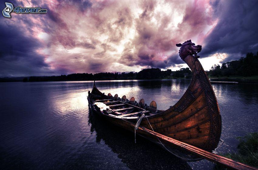 barco a orillas de mar, cielo, HDR, vikingo