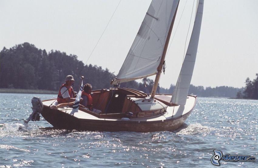 barco en el lago