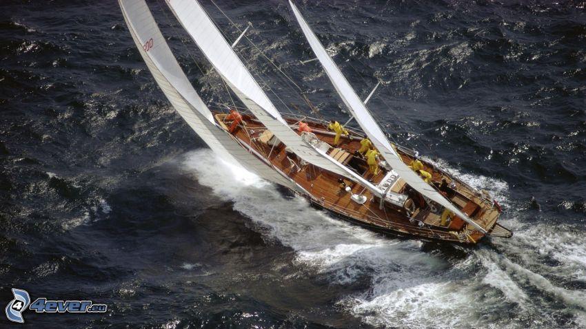 barco en el mar, mar turbulento
