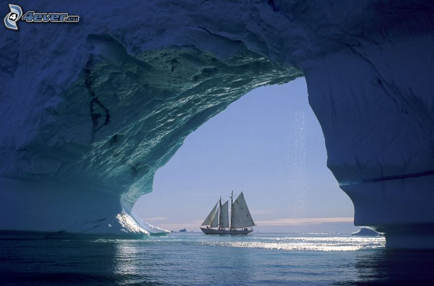barco en el mar, velero, glaciar