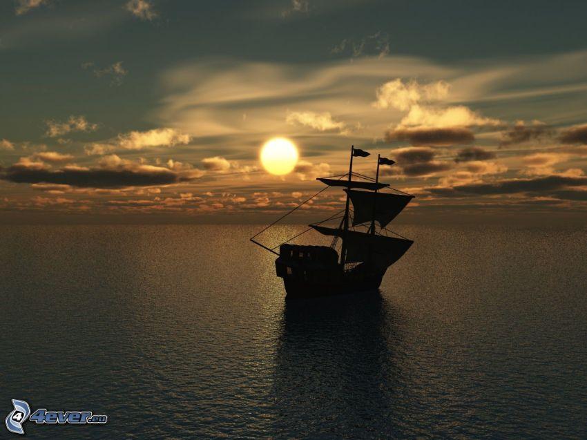 barco en el mar, velero, puesta de sol sobre el mar