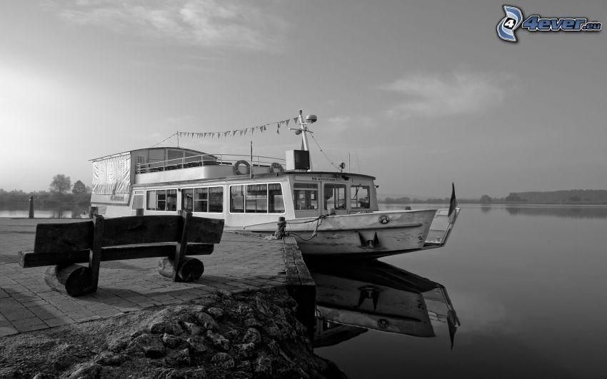 barco turístico, puerto, mar