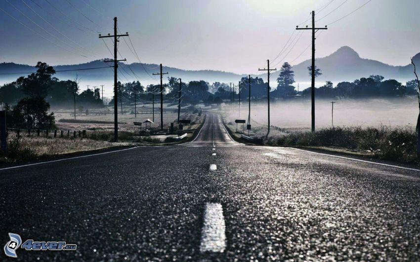 camino, alambrado, sierra, niebla baja
