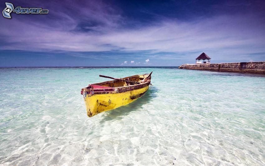 canoa, el mar azul, muelle