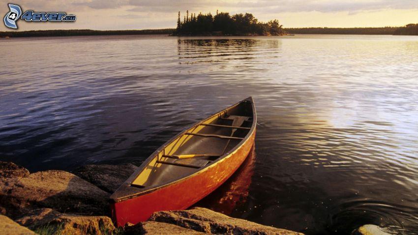 canoa, río, isla