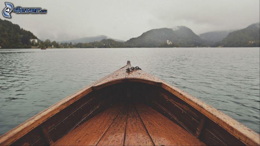 canoa, río, sierra