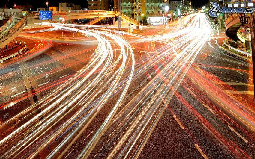 carretera de noche, cruce, calles, luces, ciudad de noche