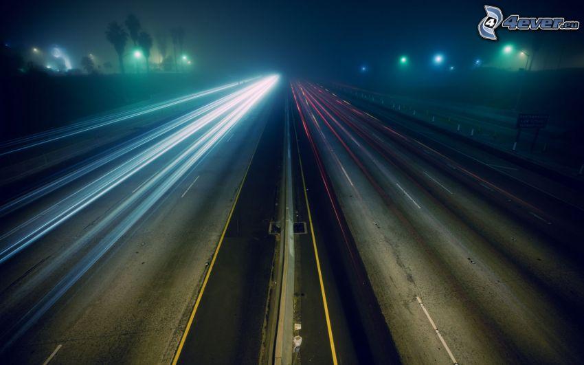 carretera en noche, luces