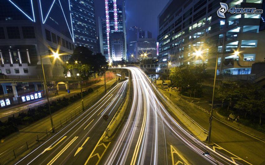 ciudad de noche, carretera de noche, luces
