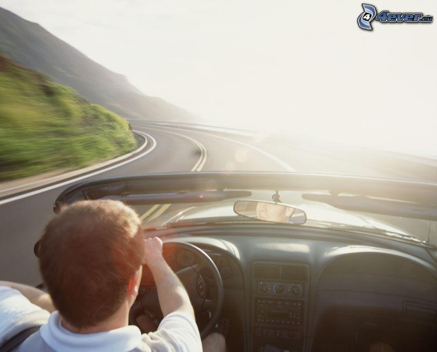 descapotable, camino, volante, viajar