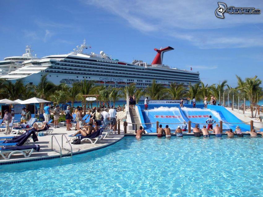 naves, piscina, personas