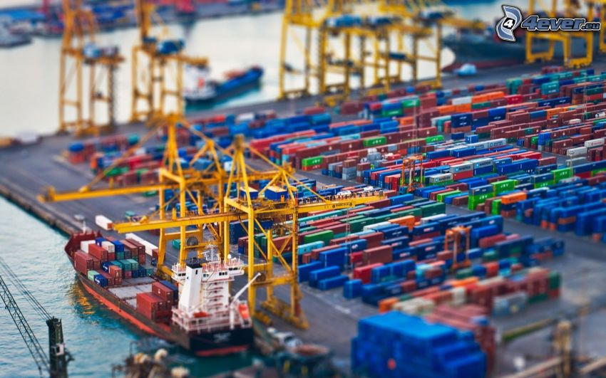 puerto, cargador, diorama