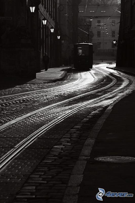 tranvía, carril, ciudad, blanco y negro