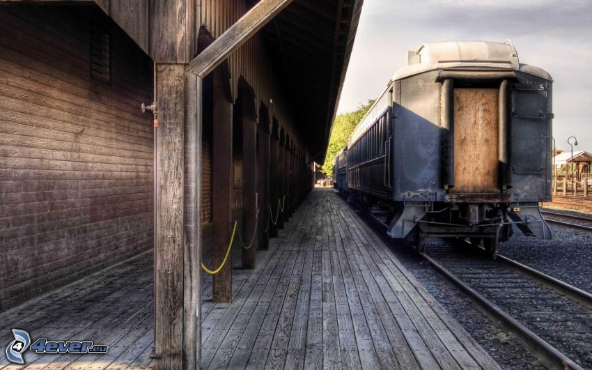 andén, tren, carril, HDR, historia