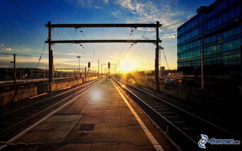 carril, ferrocarril, puesta del sol