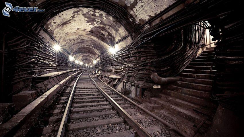 carril, túnel ferroviario, escalera, metro