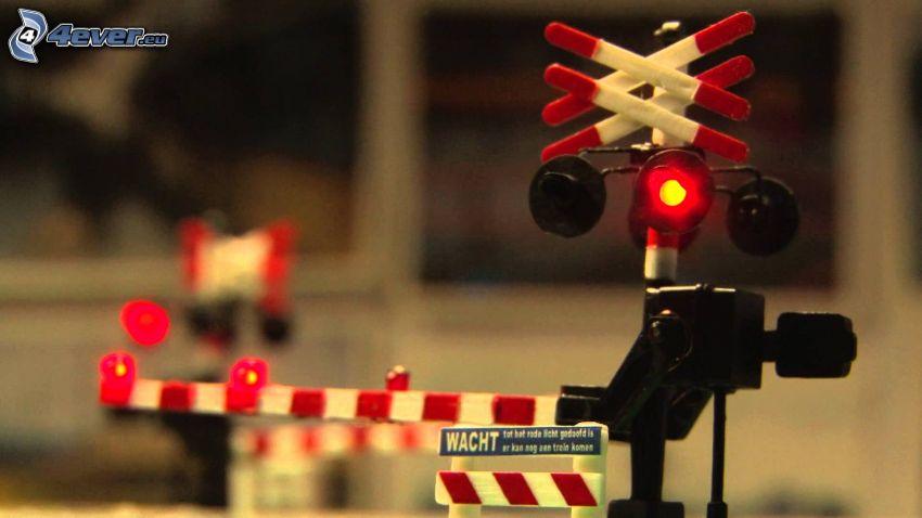 cruce de tren, miniatura, semáforo