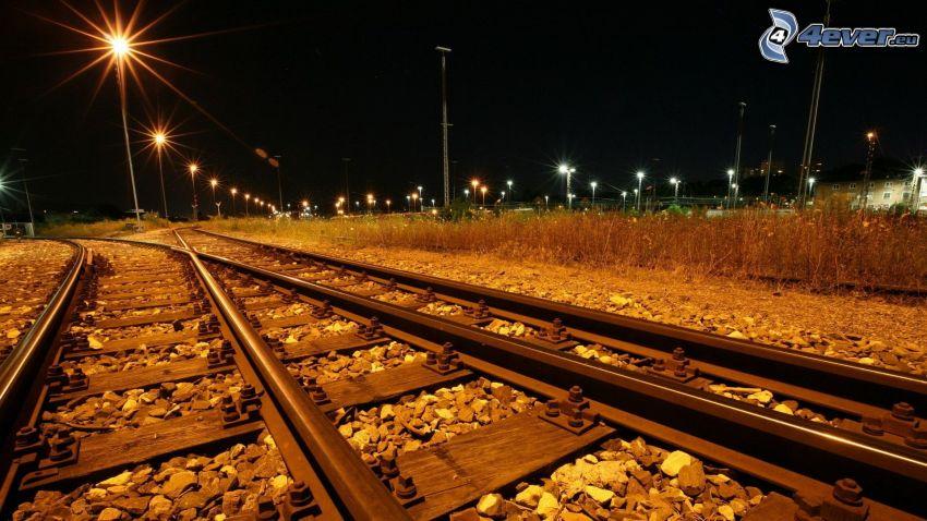 desvío, carril, ferrocarril, noche