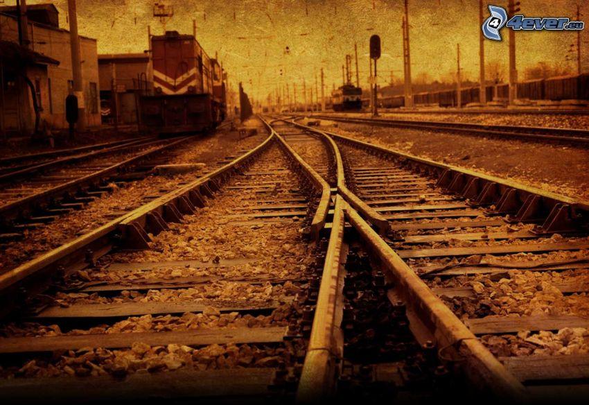 ferrocarril, carril, desvío, sepia
