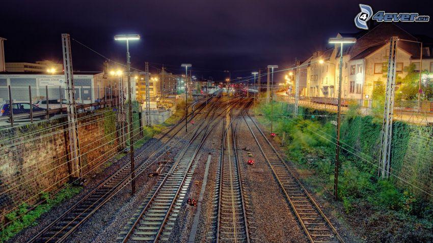 ferrocarril, carril, noche, La estación de tren, HDR