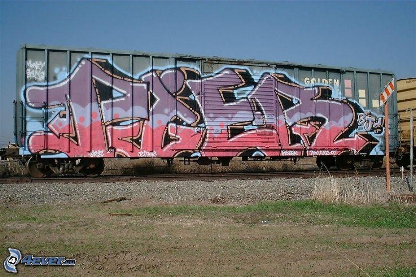 graffiti en el carro, ferrocarril