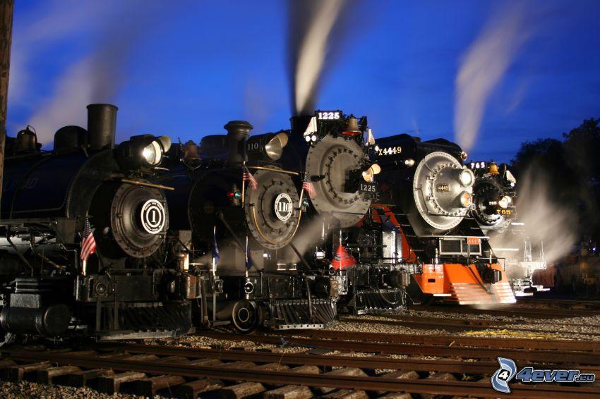 locomotora de vapor, carril