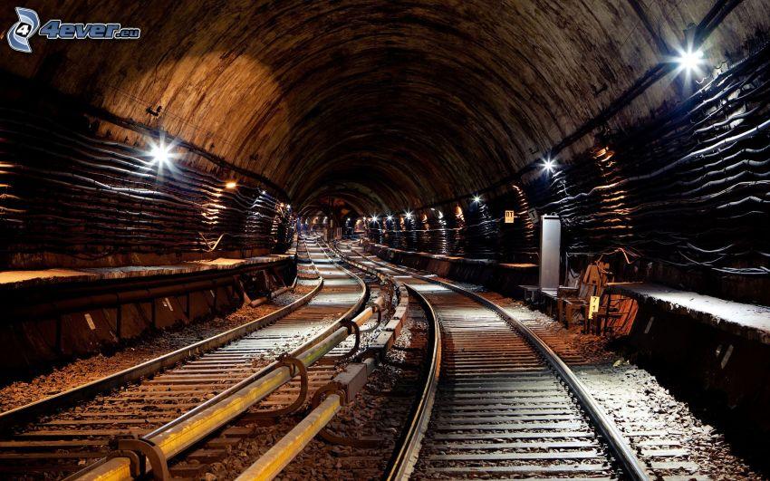 metro, túnel, carril