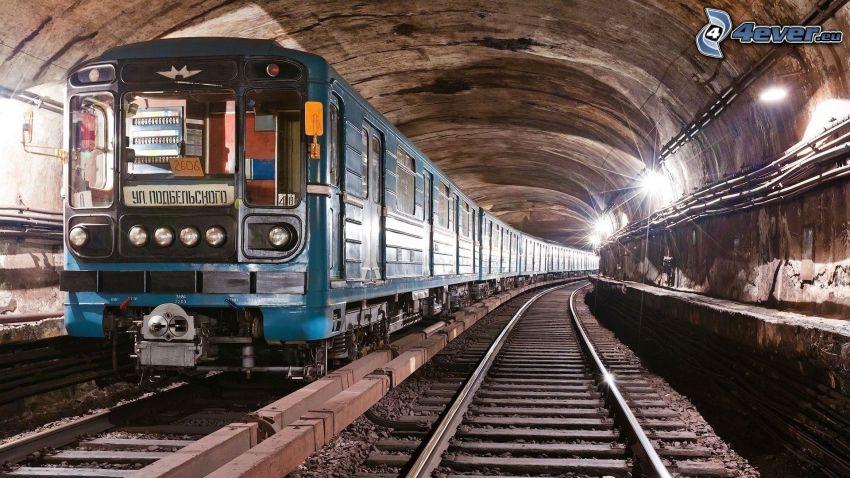 metro, túnel ferroviario, carril