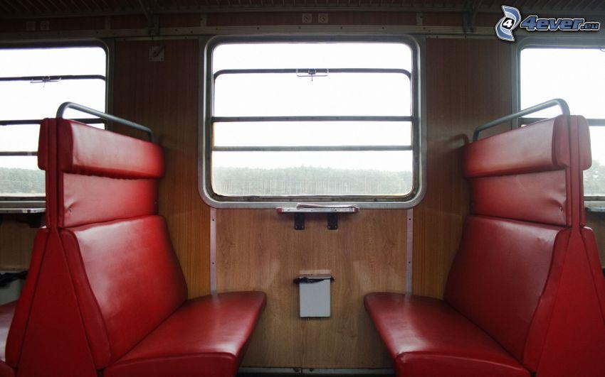 tren, interior, asiento