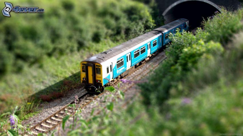 tren, túnel, diorama
