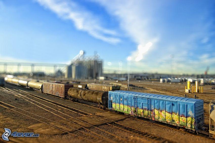 tren de carga, carril, diorama