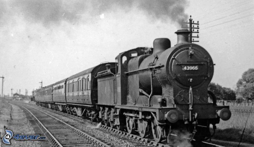 tren de vapor, locomotora de vapor, Foto en blanco y negro, carril
