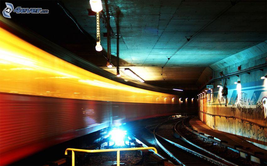 túnel, carril, metro