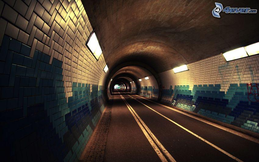 túnel, camino