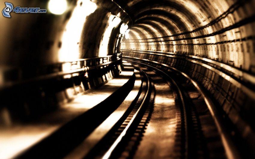 túnel, metro, carril