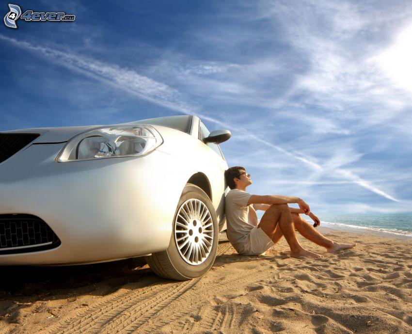 vacaciones, coche, hombre, descanso, playa, mar, arena, marcas de condensación