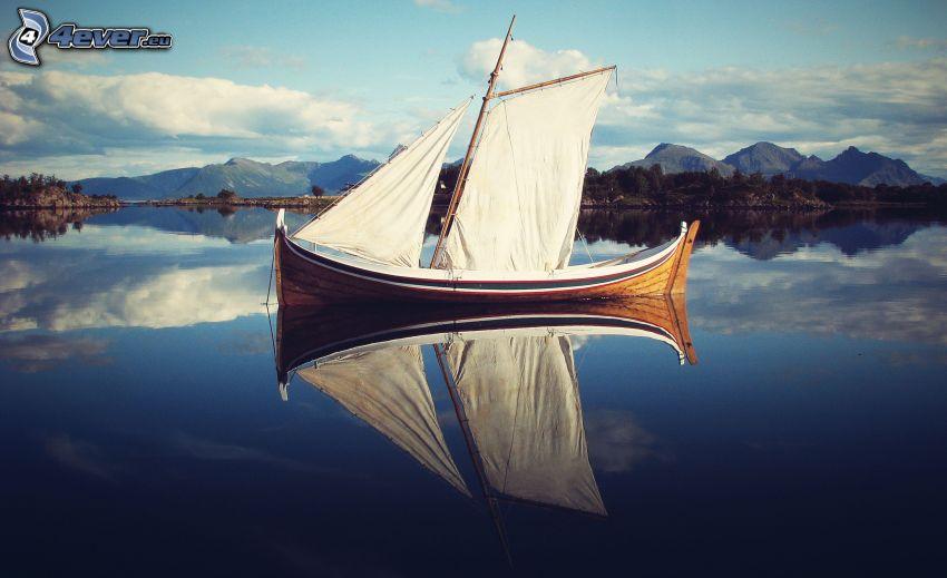 velero, lago, reflejo, colina