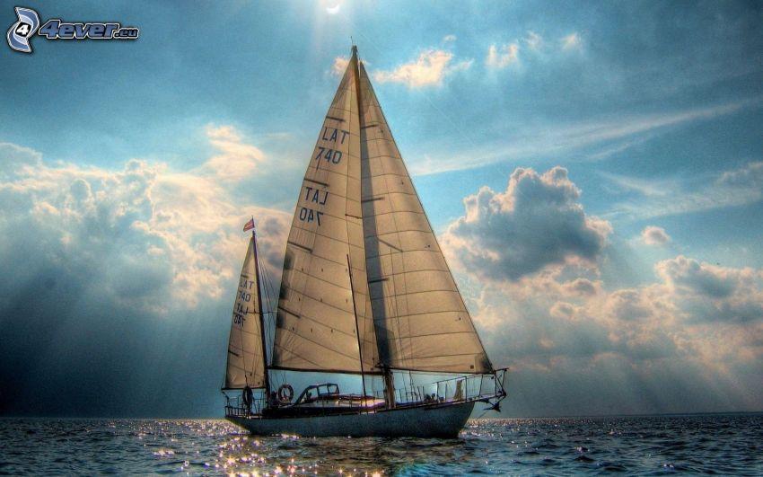 velero, mar, rayos de sol