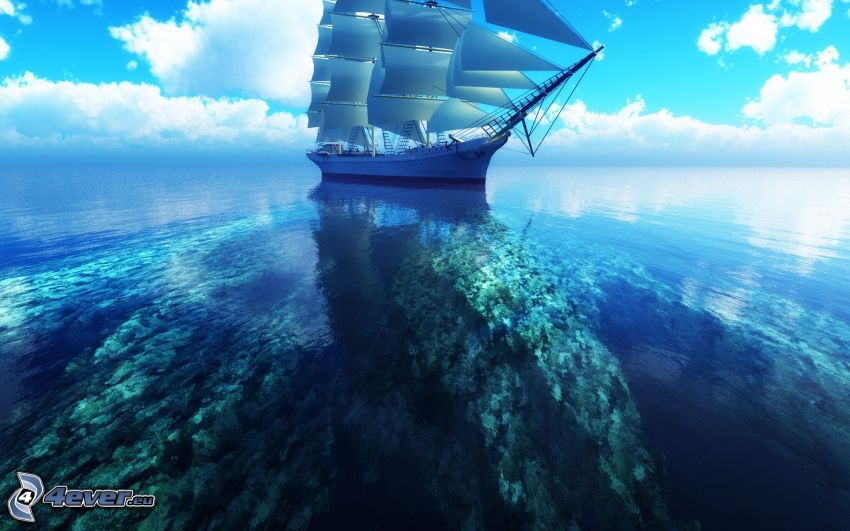 velero, nave, mar, nubes