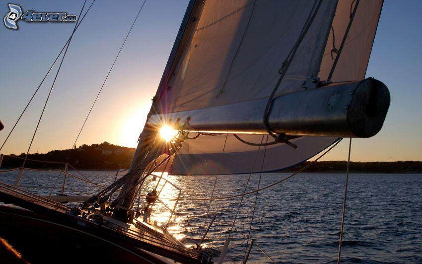 yate, nave, puesta del sol