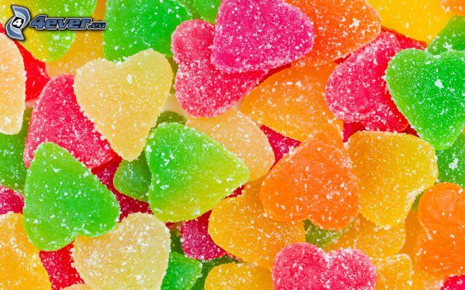 bonbons caoutchouc, cœurs