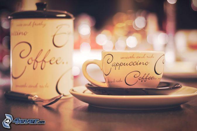 cappuccino, tasse, cuillère, récipient