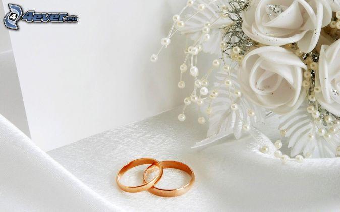 anneaux de mariage , bouquet de mariage