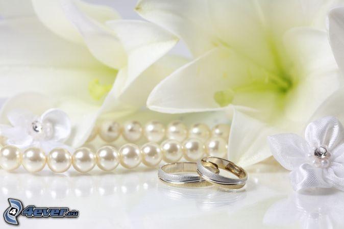 anneaux de mariage , perles
