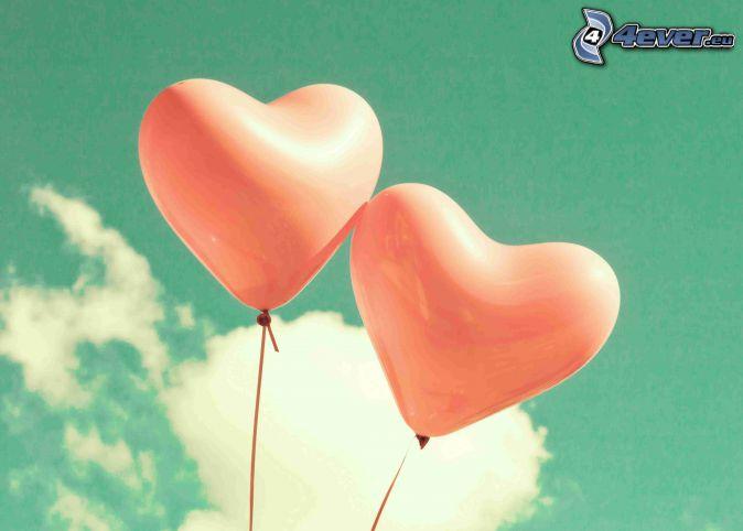 ballons, cœurs, nuage